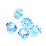 Osztályon felüli keleti kristály bikon, 3x4 mm , rézszulfát oladat színű