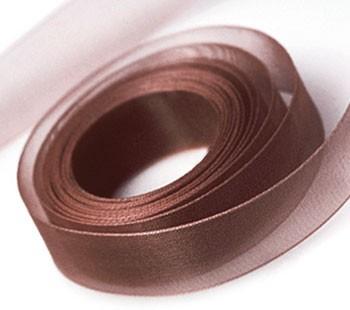 Organza szalag, 10 mm kávébarna