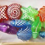 Plastic bead, sea shapes