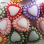Plastic bead, hearts