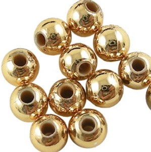 Plastic miracle bead, gold, 10 mm