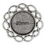 Antik ezüst gyűrűalap csavart kerek foglalattal, 5 DB