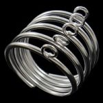 Ring base with 5 loops, silver, 5 pieces