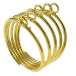Ring base with 5 loops, gold, 5 pieces