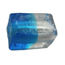 Silver-foiled bead, rectangular prism
