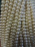 Glass pearl, 8 mm, white